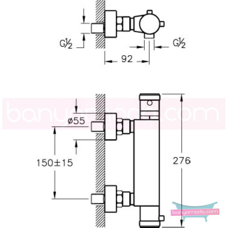 Artema AquaHeat Termostatik Duş Bataryası - A47016 90 derece açma kapama su ve enerji tasarruflu aşırı sıcak su ile yanma riskini ortadan termostatik armatür
