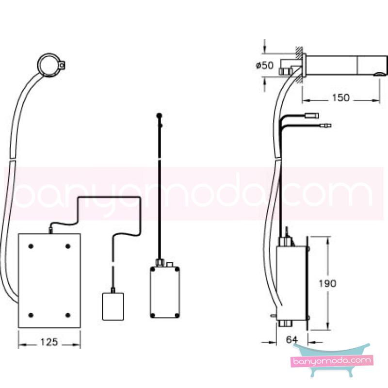 Artema AquaSee Ankastre Fotoselli Lavabo Bataryası (Elektrikli),Tek Su Girişli - A47021 açılı perlatörlü el değmeden su akışı sağlayan hijyenin önem kazandığı teknolojik armatür