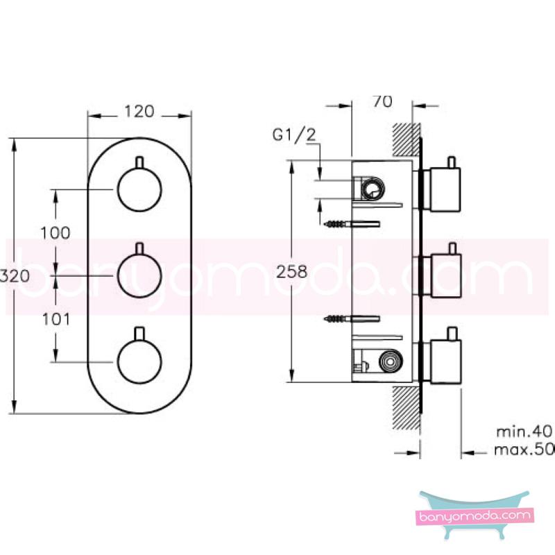 Artema AquaHeat Termostatik Ankastre Duş Bataryası (3 Yollu Yönlendiricili) - A47024 180 derece açma kapama su ve enerji tasarruflu aşırı sıcak su ile yanma riskini ortadan termostatik armatür