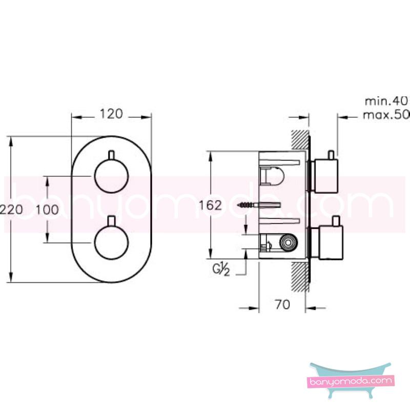 Artema AquaHeat Termostatik Ankastre Duş Bataryası - A47026 180 derece açma kapama su ve enerji tasarruflu aşırı sıcak su ile yanma riskini ortadan termostatik armatür