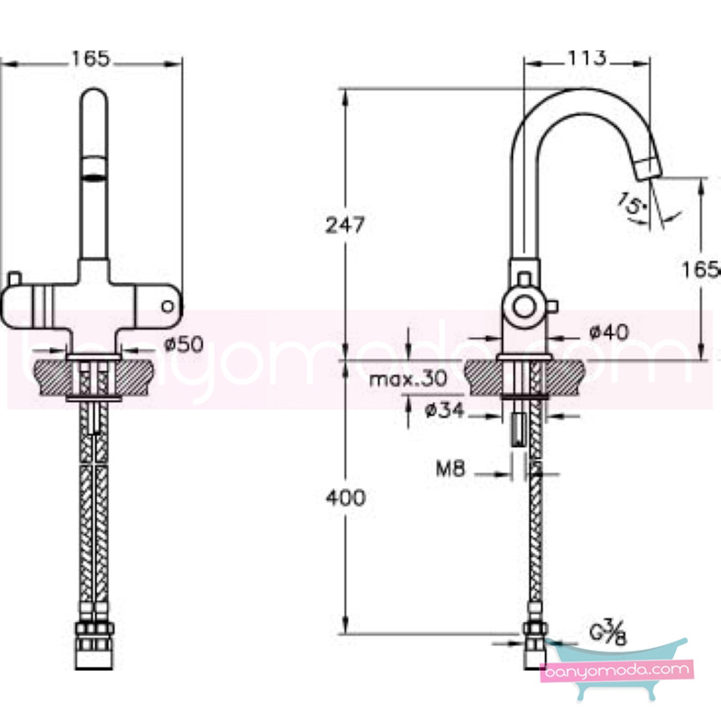 Artema AquaHeat Lavabo Bataryası (Termostatik) - A47037 90 derece açma kapama su ve enerji tasarruflu aşırı sıcak su ile yanma riskini ortadan termostatik armatür