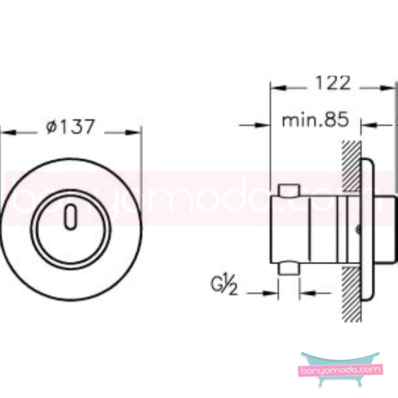 Artema AquaTouch Ankastre Zaman Ayarlı Dokunmatik Duş Bataryası - A47042 yalın silindirik formu ve led ışığıyla banyonuza görsellik katarken tasarruf etmenizi sağlayan armatür