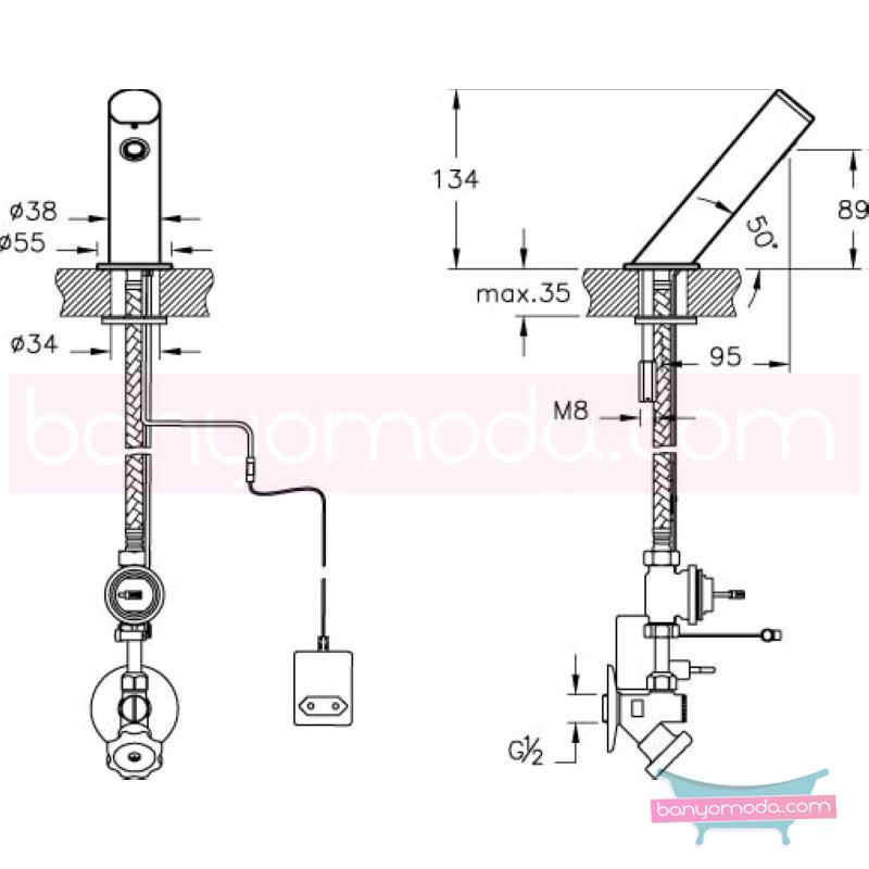 Artema AquaTouch Zaman Ayarlı Dokunmatik Lavabo Bataryası - A47044 yalın silindirik formu ve led ışığıyla banyonuza görsellik katarken tasarruf etmenizi sağlayan armatür