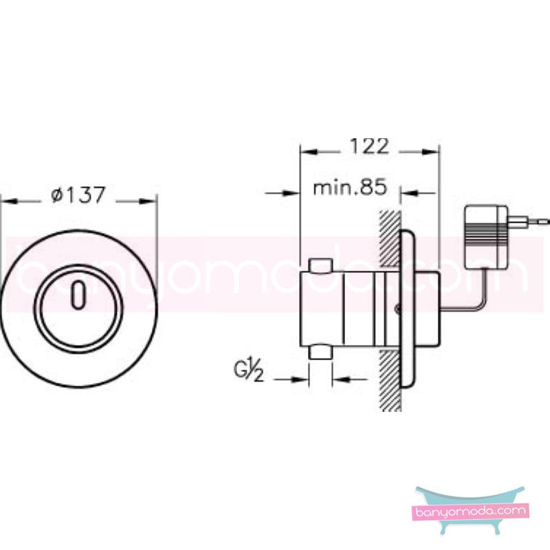 Artema AquaSee Ankastre Fotoselli Duş Bataryası (Elektrikli) - A47045 el değmeden su akışı sağlayan hijyenin önem kazandığı teknolojik armatür