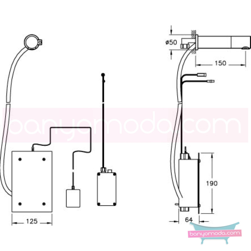 Artema AquaSee Ankastre Fotoselli Lavabo Bataryası (Çift Su Girişli) - A47046 açılı perlatörlü el değmeden su akışı sağlayan hijyenin önem kazandığı teknolojik armatür
