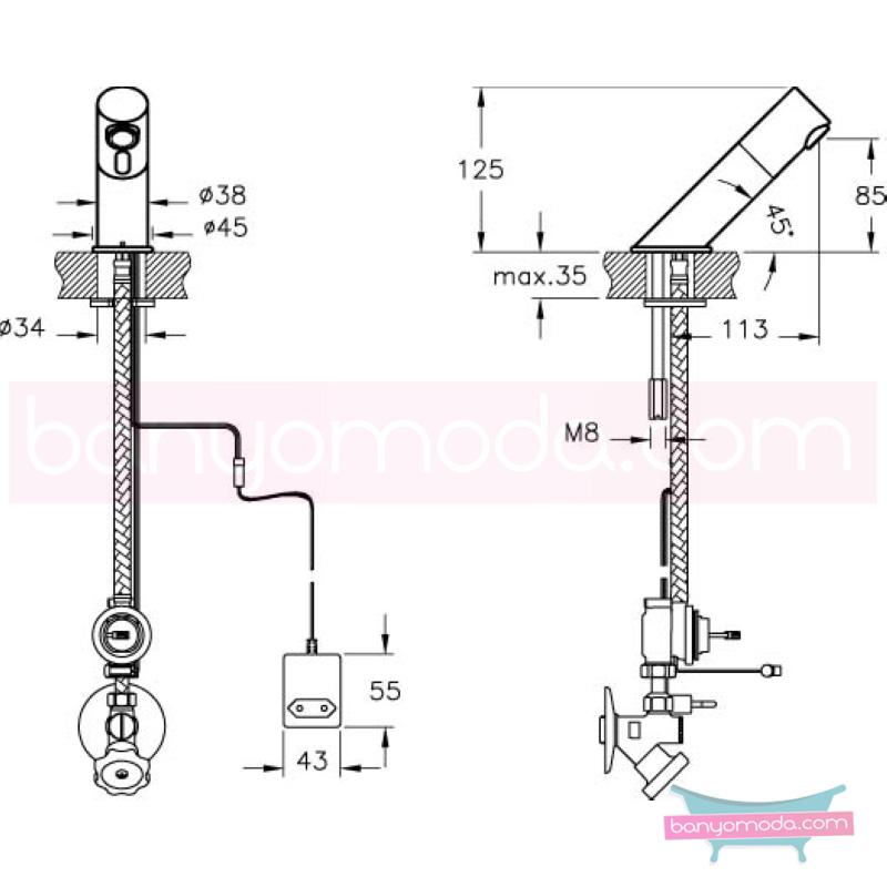 Artema AquaSee Fotoselli Lavabo Bataryası (Tek su girişli, Elektrikli) - A47048 açılı perlatörlü el değmeden su akışı sağlayan hijyenin önem kazandığı teknolojik armatür