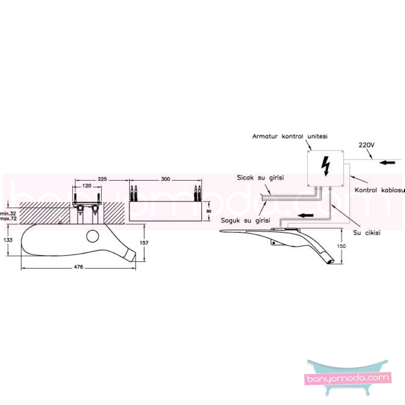 Artema Freedom Ankastre Lavabo Bataryası - A4705099 su ve enerji tasarruflu maksimum işlevsellik sunan asimetrik canlı inanılmaz Ross Lovegrove tasarımlı özel Freedom koleksiyonudan