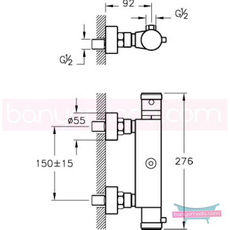 Artema Aquaheat Termostatik Duş Bataryası - A47055 90 derece açma kapama su ve enerji tasarruflu aşırı sıcak su ile yanma riskini ortadan termostatik armatür