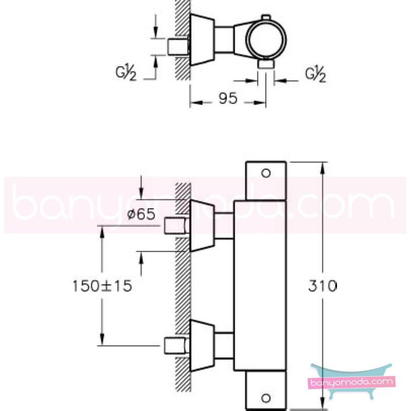 Artema AquaHeat Termostatik Duş Bataryası - A47056 90 derece açma kapama su ve enerji tasarruflu aşırı sıcak su ile yanma riskini ortadan termostatik armatür