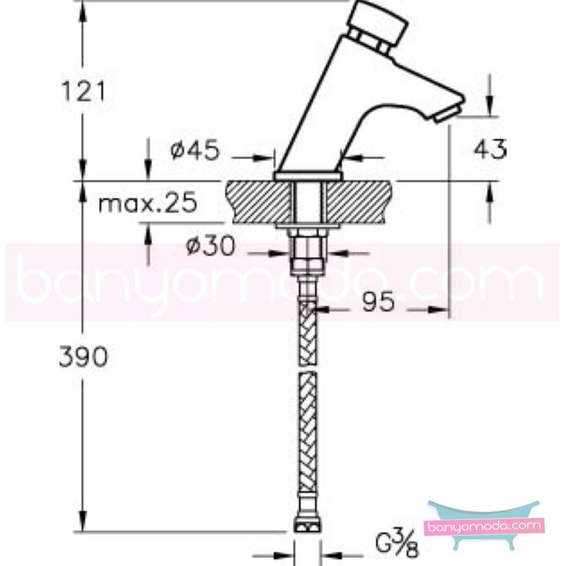 Artema AquaTouch Zaman Ayarlı Basmalı Lavabo Bataryası - A47059 yalın silindirik formu ve led ışığıyla banyonuza görsellik katarken tasarruf etmenizi sağlayan armatür