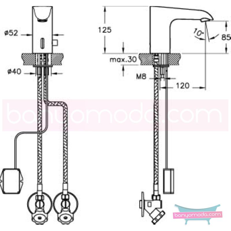 Artema Aquasee Fotoselli Lavabo Bataryası (Çift Su Girişli, Pilli) - A47069 el değmeden su akışı sağlayan hijyenin önem kazandığı teknolojik armatür