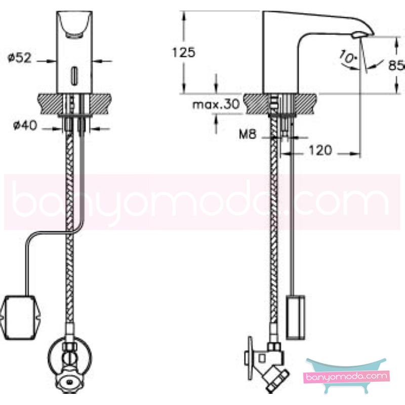 Artema Aquasee Fotoselli Lavabo Bataryası (Tek Su Girişli, Pilli) - A47071 el değmeden su akışı sağlayan hijyenin önem kazandığı teknolojik armatür
