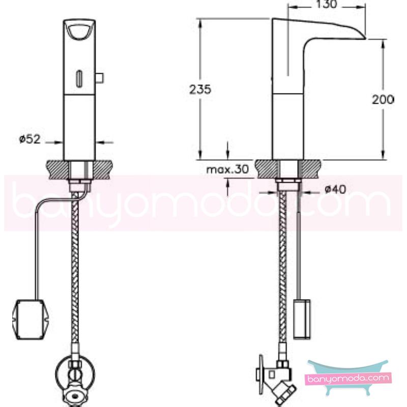 Artema Aquasee Fotoselli Lavabo Bataryası (Yüksek, Şelale Akışlı, Tek Su Girişli, Pilli) - A47083 el değmeden su akışı sağlayan hijyenin önem kazandığı teknolojik armatür