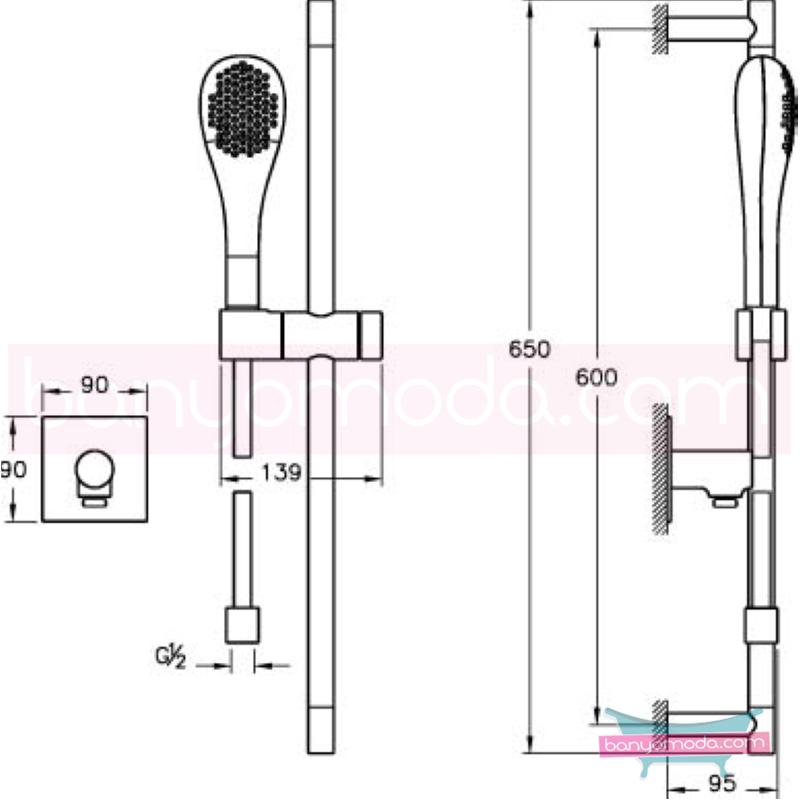 Artema İstanbul Sürgülü El Duşu Takımı, Altın - A4801323 Tek fonksiyonlu elduşu:Aquaspray su tasarrufu kireç kırıcılı Ross Lovegrove tarafından tasarlanan sade ve ince görüntsünüyle banyonuza değer katan sürgülü duş takımı
