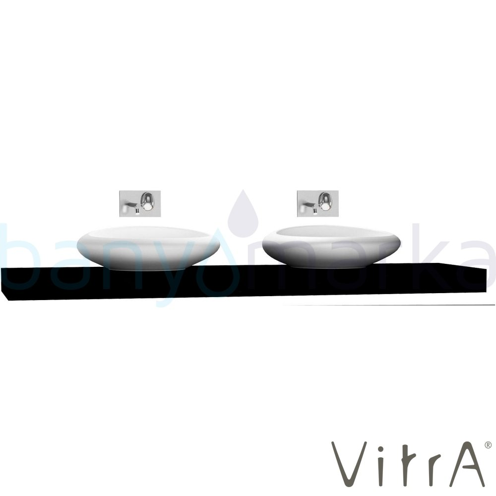 Vitra Options Lux Tezgah, 200 cm, Parlak Siyah 53106 Lavabo Dolabı