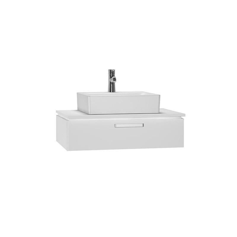 Vitra System Fit Geniş Lavabo Dolabı (Sığ), 80 cm, Parlak Beyaz, Yuvarlak Hatlı Kulp 53457 Lavabo Dolabı