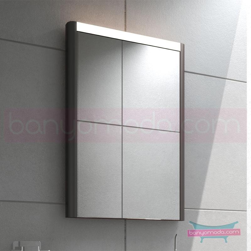 Vitra T4 Aydınlatmalı Ayna, 50 cm, Mat Gri 54630 Ayna / Dolaplı Ayna