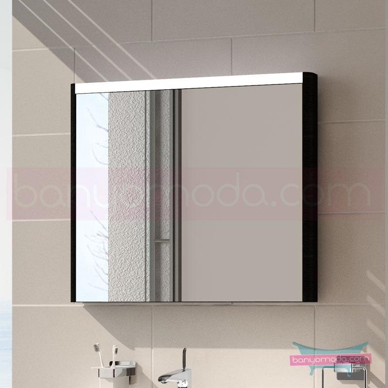 Vitra T4 Aydınlatmalı Ayna, 90 cm, Hasiente Siyah 54652 Ayna / Dolaplı Ayna