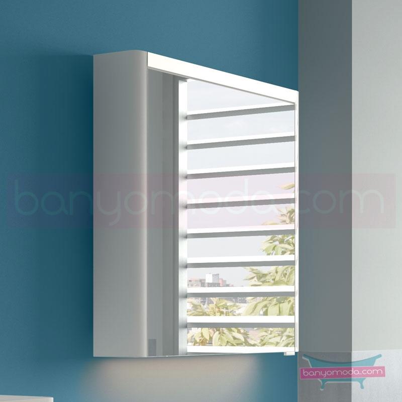 Vitra T4 Aydınlatmalı Dolaplı Ayna (Sol), 60 cm, Parlak beyaz 54668 Ayna / Dolaplı Ayna
