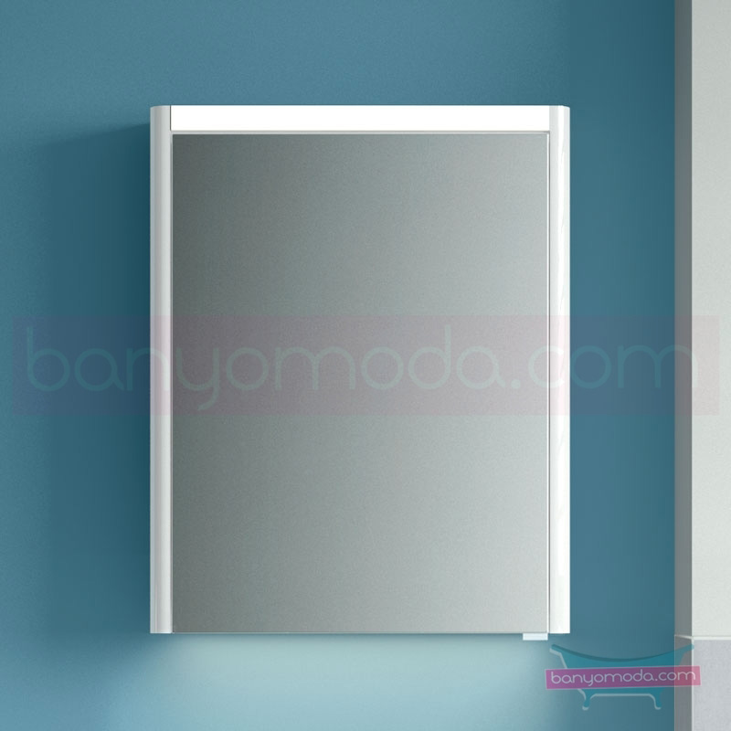 Vitra T4 Aydınlatmalı Dolaplı Ayna (Sol), 60 cm, Mat Beyaz 54671 Ayna / Dolaplı Ayna