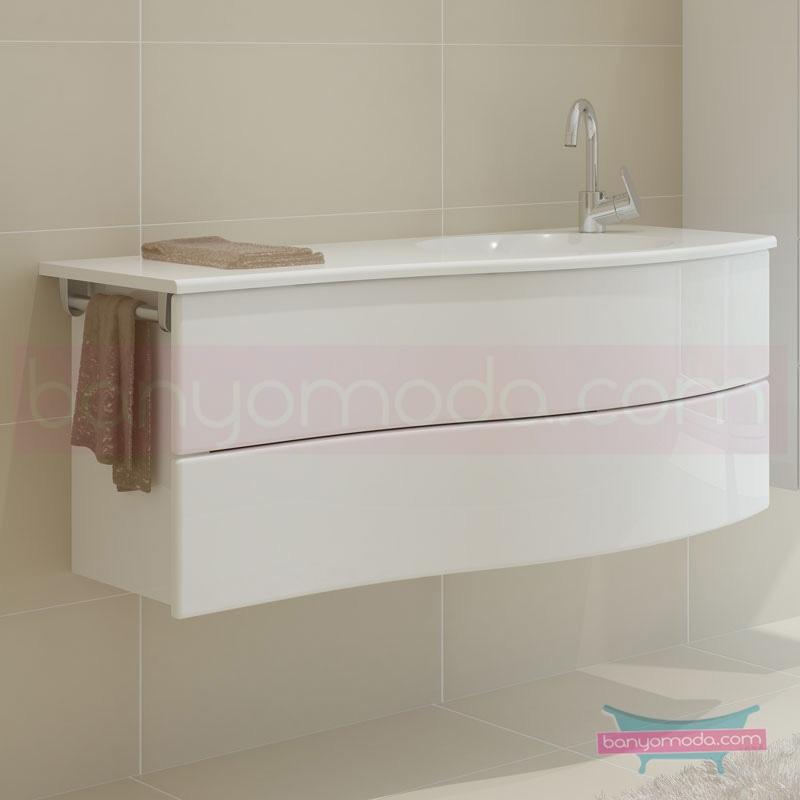 Vitra Aqua Lavabo Dolabı (Sağ), 100 cm, Parlak Beyaz 54967 Lavabo Dolabı
