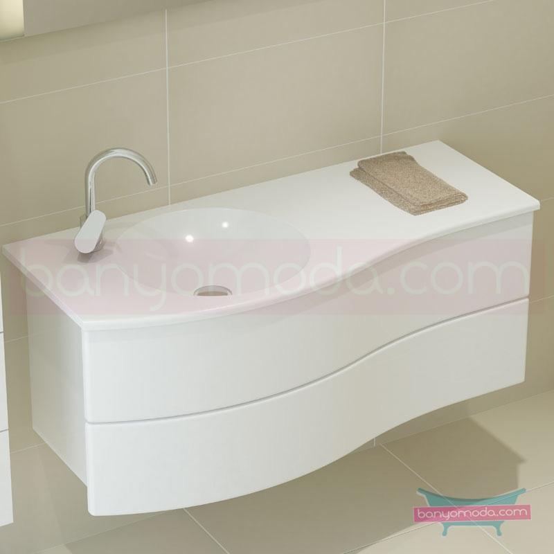 Vitra Aqua Lavabo Dolabı (Sol), 120 cm, Parlak Beyaz - 54968 asma termoform kaplama yavaş kapanır kulpsuz çekmeceli dalgalı formu ve geniş saklama alanı sunan banyo mobilyası en uygun fiyatlarla Banyomoda'dan online satın alabilirsiniz.