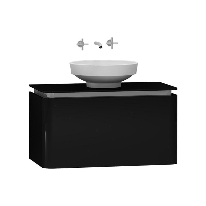 Vitra Gala Lavabo Dolabı, 80 cm Parlak Siyah-Krom 55236 Lavabo Dolabı