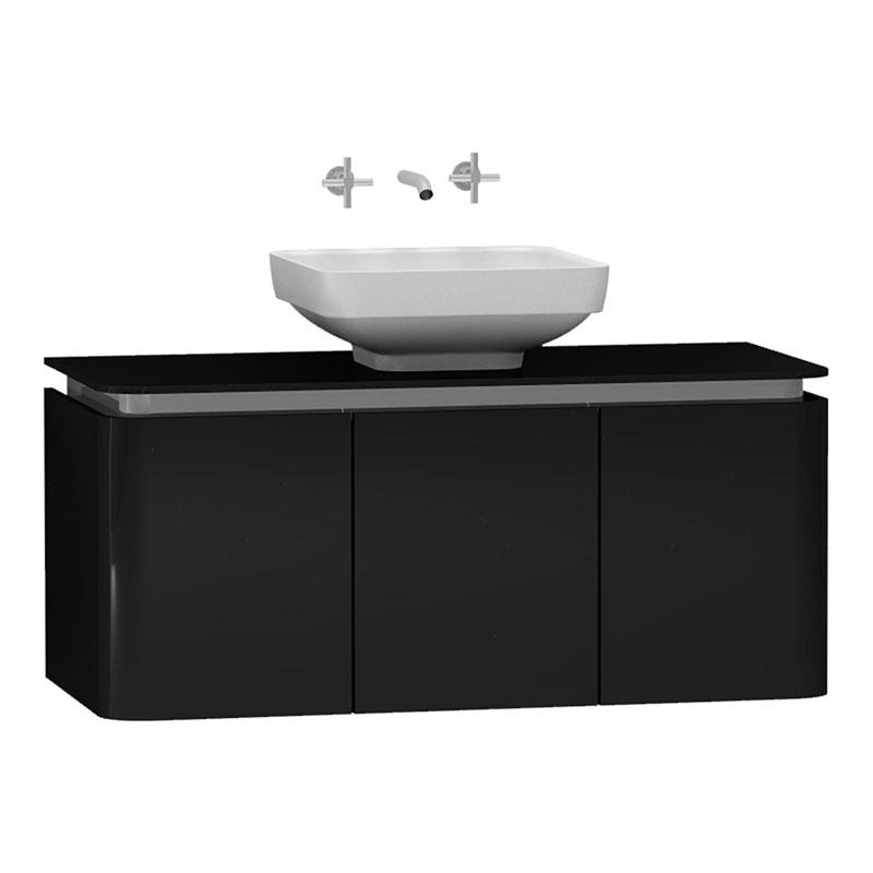Vitra Gala Lavabo Dolabı, 100 cm Parlak Siyah-Krom 55245 Lavabo Dolabı