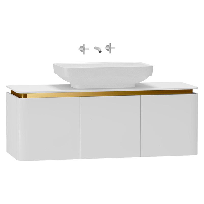 Vitra Gala Lavabo Dolabı, 120 cm Parlak Beyaz-Altın 56026 Lavabo Dolabı