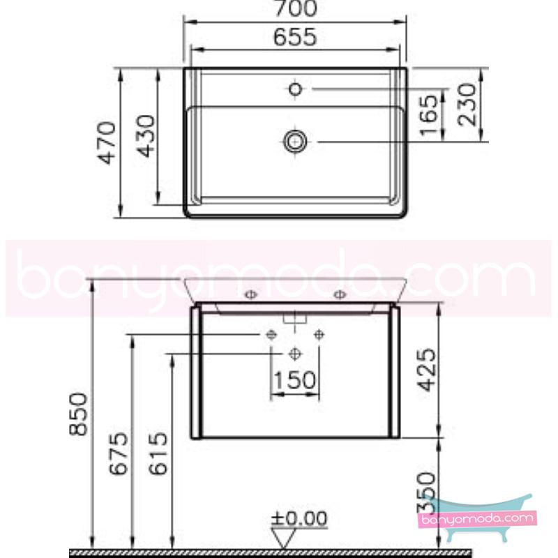 Vitra T4 Lavabo Dolabı, 70 cm, Parlak Beyaz (Lavabo Dahil) - 54561 asma termoform kaplama kulplu yavaş kapanır çekmeceli sade ve ince görüntsünüyle banyonuza değer katan Noa tasarımlı mobilya en uygun fiyatlarla Banyomoda'dan online satın alabilirsiniz.