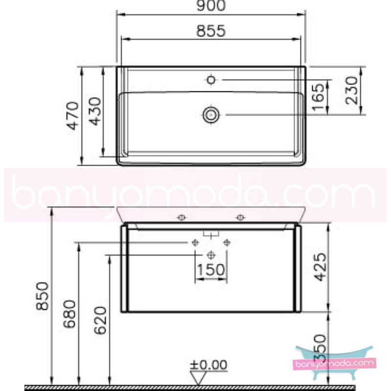 Vitra T4 Lavabo Dolabı, 90 cm, Parlak Beyaz (Lavabo Dahil) - 54573 asma termoform kaplama kulplu yavaş kapanır çekmeceli sade ve ince görüntsünüyle banyonuza değer katan Noa tasarımlı mobilya en uygun fiyatlarla Banyomoda'dan online satın alabilirsiniz.