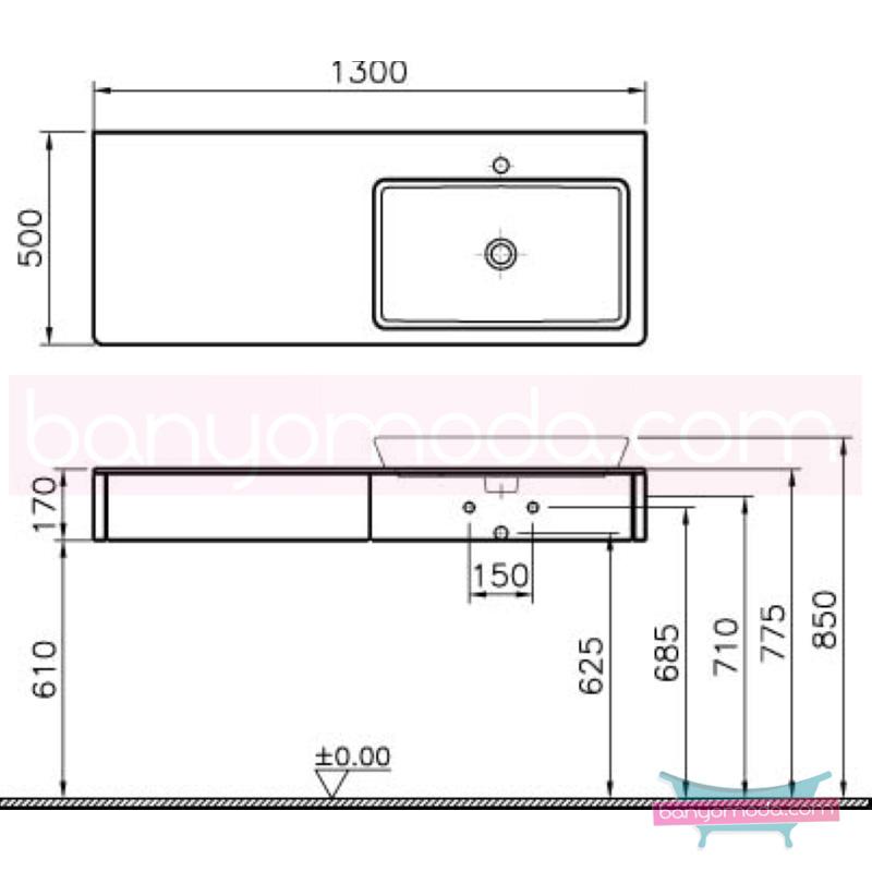 Vitra T4 Dar Tezgah Ünitesi, 130 cm, Mat Gri - 54589 asma termoform kaplama yavaş kapanır kulpsuz çekmeceli sade ve ince görüntsünüyle banyonuza değer katan Noa tasarımlı mobilya en uygun fiyatlarla Banyomoda'dan online satın alabilirsiniz.