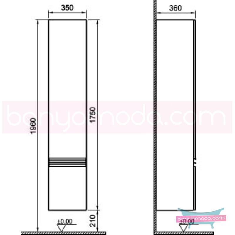 Vitra Espace Boy Dolabı (Sol), Koyu Meşe - 54931 asma termoform kaplama kulplu yavaş kapanır kübik hacimlerin  yuvarlak formlarla iç içe geçtiği esnek tasarımlı banyo mobilyası en uygun fiyatlarla Banyomoda'dan online satın alabilirsiniz.