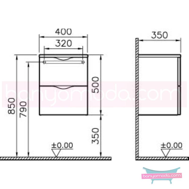 Vitra Aqua Kısa Dolap, Koyu Meşe - 54527 asma termoform kaplama yavaş kapanır kulpsuz çekmeceli dalgalı formu ve geniş saklama alanı sunan banyo mobilyası en uygun fiyatlarla Banyomoda'dan online satın alabilirsiniz.