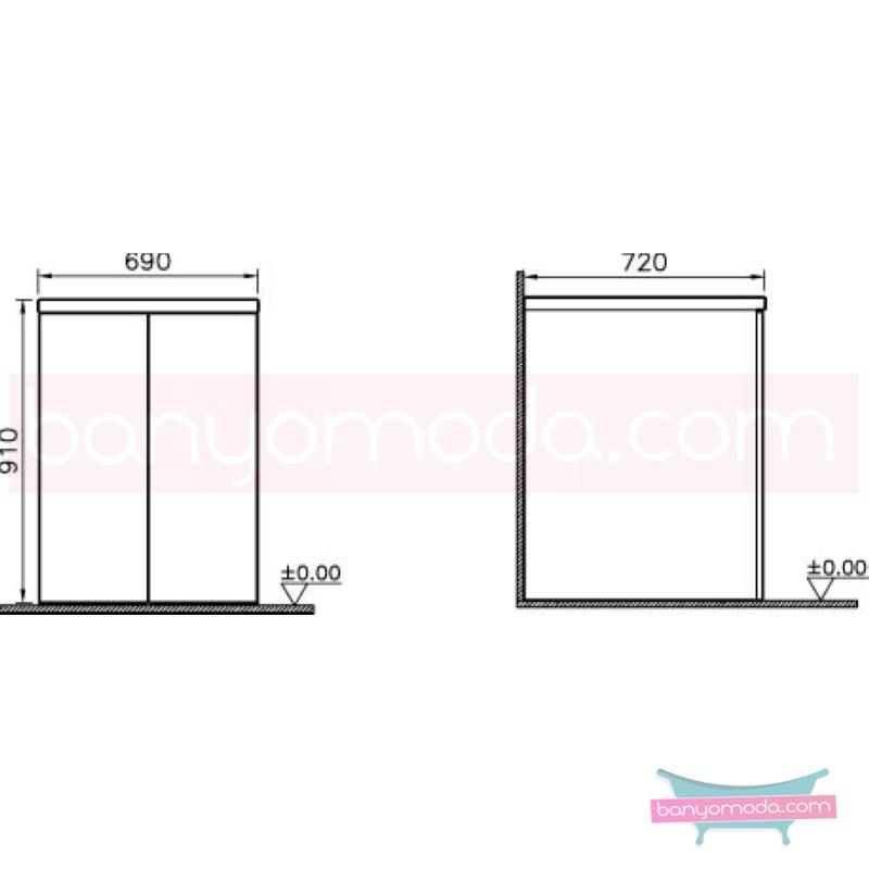 Vitra Kapaklı Çamaşır Makinesi Dolabı, Koyu Meşe - 54869 yerden termoform kaplama bas aç kapa banyo mobilyasıdır en uygun fiyatlarla Banyomoda'dan online satın alabilirsiniz.