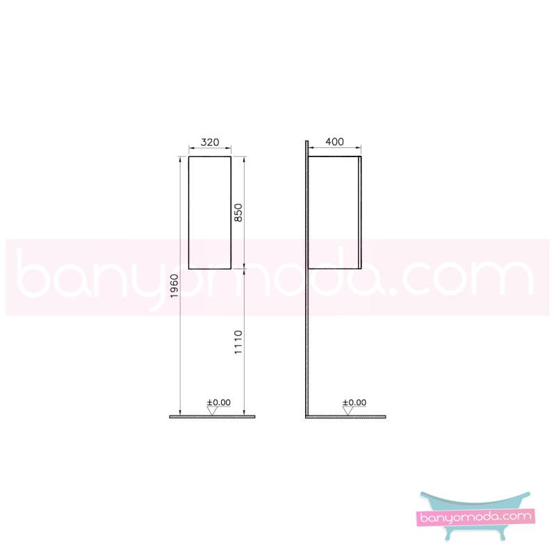 Vitra Üst Dolap (Sağ) (Dar), Koyu Meşe - 54884 asma termoform kaplama bas aç kapa banyo mobilyasıdır en uygun fiyatlarla Banyomoda'dan online satın alabilirsiniz.