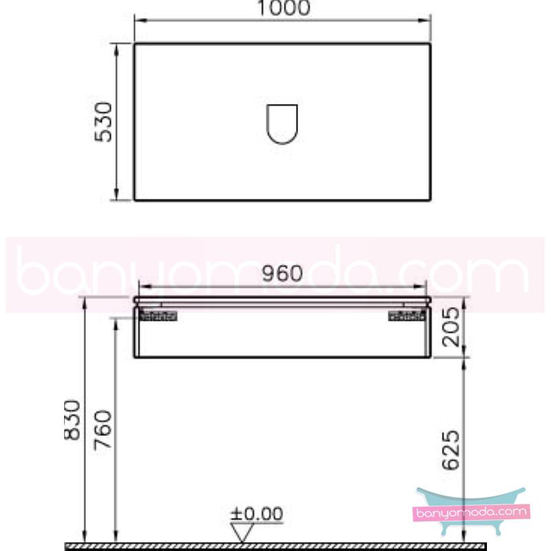 Vitra System Fit Geniş Lavabo Dolabı (Sığ), 100 cm, Gri Meşe, Bel Kulp - 53471 asma termoform kaplama kulplu yavaş kapanır çekmeceli vitra'nın tasarım ve teknoloji gücü banyo mobilyalarında sonsuz seçenek yaratıyor en uygun fiyatlarla Banyomoda'dan online satın alabilirsiniz.