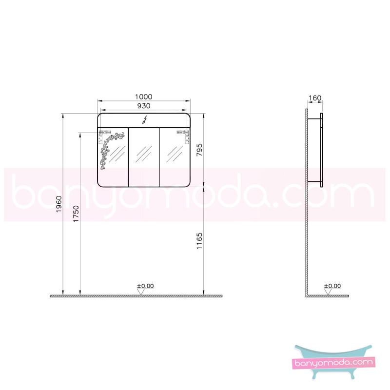 Vitra Gala Classic Desenli Aydınlatmalı Dolaplı Ayna, 100 cm Parlak Bej - 55174 asma lake kaplama yavaş kapanır kulpsuz klasik mobilya anlayışını banyosuna yansıtmak isteyenler için en uygun fiyatlarla Banyomoda'dan online satın alabilirsiniz.