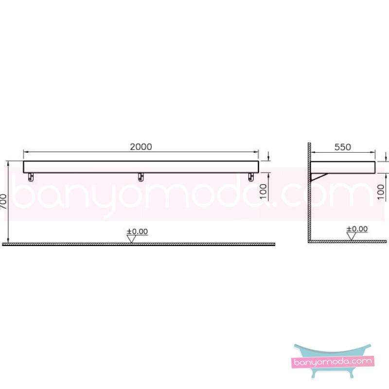 Vitra Options Lux Tezgah, 200 cm, Parlak Siyah - 53106 asma lake kaplama estetiğin en yalın ve çarpıcı hali her boyutta banyoya uygun mobilya en uygun fiyatlarla Banyomoda'dan online satın alabilirsiniz.