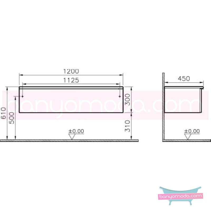 Vitra Shift Geniş Alt Dolap (Sığ), 120 cm, Zebrano - 52617 yerden termoform kaplama kulplu yavaş kapanır çekmeceli büyük banyo alanlarına ekleyeceğiniz ek ünitelerle banyonun fonksiyonelliği arttırın en uygun fiyatlarla Banyomoda'dan online satın alabilirsiniz.