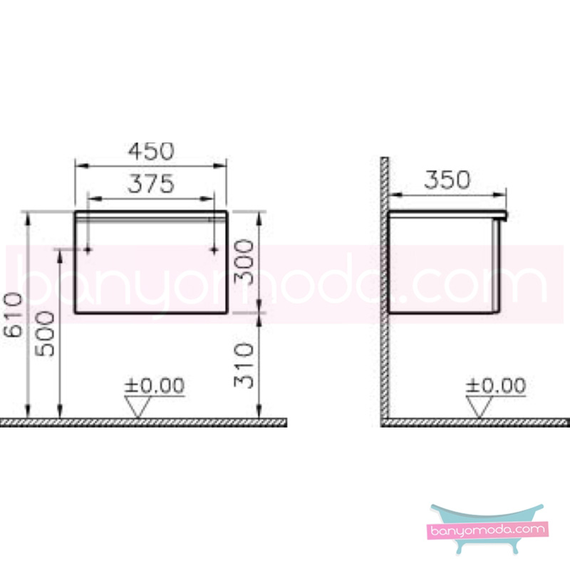 Vitra Shift Dar Alt Dolap (Sığ), 45 cm, Dağ Dokusu - 52491 yerden termoform kaplama kulplu yavaş kapanır çekmeceli büyük banyo alanlarına ekleyeceğiniz ek ünitelerle banyonun fonksiyonelliği arttırın en uygun fiyatlarla Banyomoda'dan online satın alabilirsiniz.