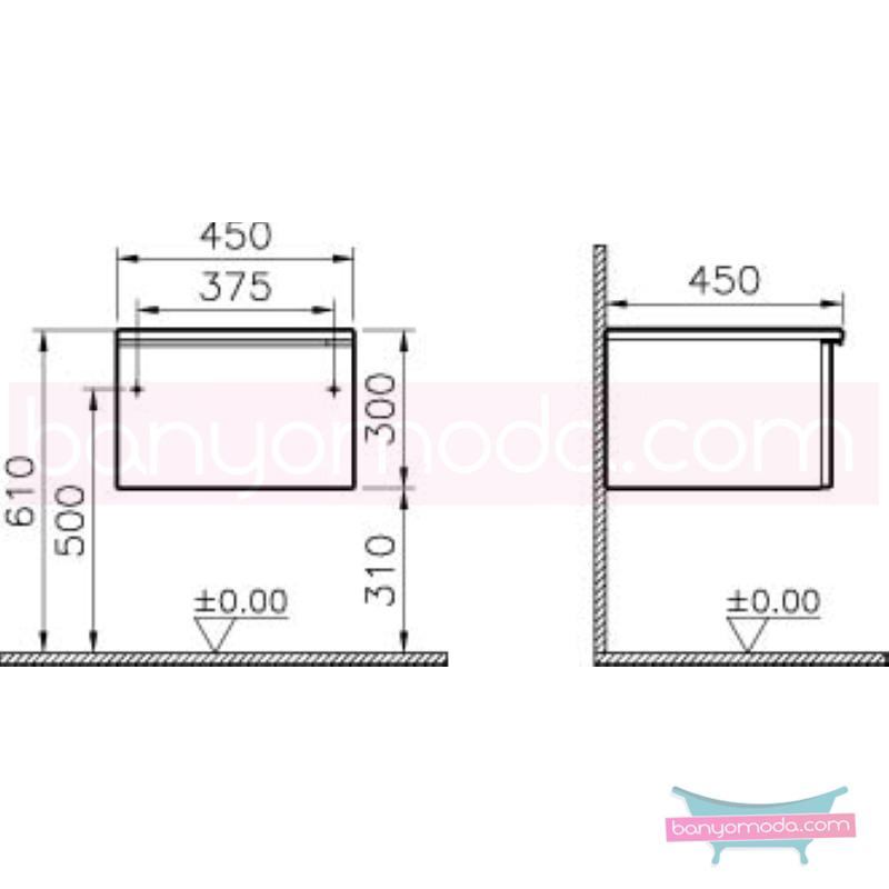 Vitra Shift Geniş Alt Dolap (Sığ), 45 cm, Zebrano - 52621 yerden termoform kaplama kulplu yavaş kapanır çekmeceli büyük banyo alanlarına ekleyeceğiniz ek ünitelerle banyonun fonksiyonelliği arttırın en uygun fiyatlarla Banyomoda'dan online satın alabilirsiniz.