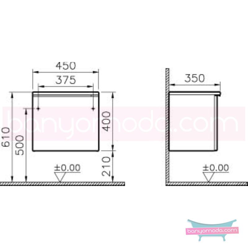 Vitra Shift Dar Alt Dolap (Derin), 45 cm, Antrasit - 52648 yerden termoform kaplama kulplu yavaş kapanır çekmeceli büyük banyo alanlarına ekleyeceğiniz ek ünitelerle banyonun fonksiyonelliği arttırın en uygun fiyatlarla Banyomoda'dan online satın alabilirsiniz.