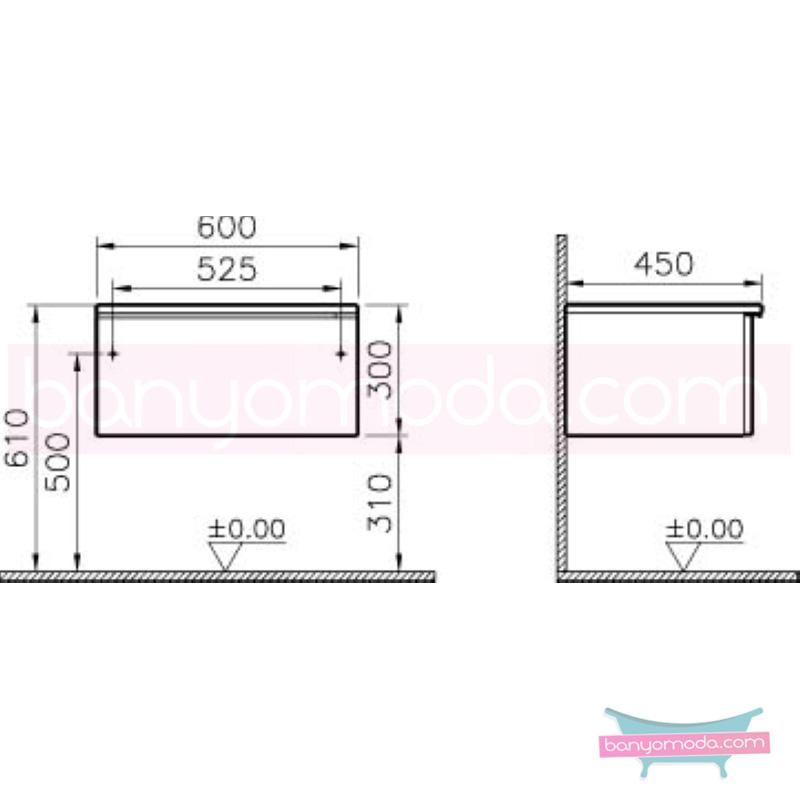 Vitra Shift Geniş Alt Dolap (Sığ), 60 cm, Zebrano - 52684 yerden termoform kaplama kulplu yavaş kapanır çekmeceli büyük banyo alanlarına ekleyeceğiniz ek ünitelerle banyonun fonksiyonelliği arttırın en uygun fiyatlarla Banyomoda'dan online satın alabilirsiniz.