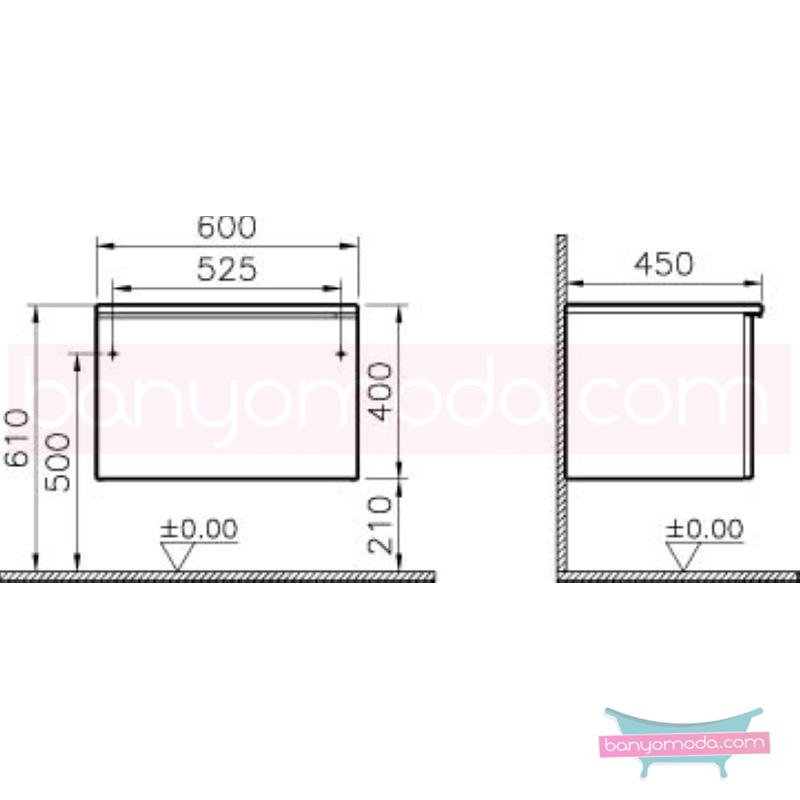 Vitra Shift Geniş Alt Dolap (Derin), 60 cm, Zebrano - 52669 yerden termoform kaplama kulplu yavaş kapanır çekmeceli büyük banyo alanlarına ekleyeceğiniz ek ünitelerle banyonun fonksiyonelliği arttırın en uygun fiyatlarla Banyomoda'dan online satın alabilirsiniz.
