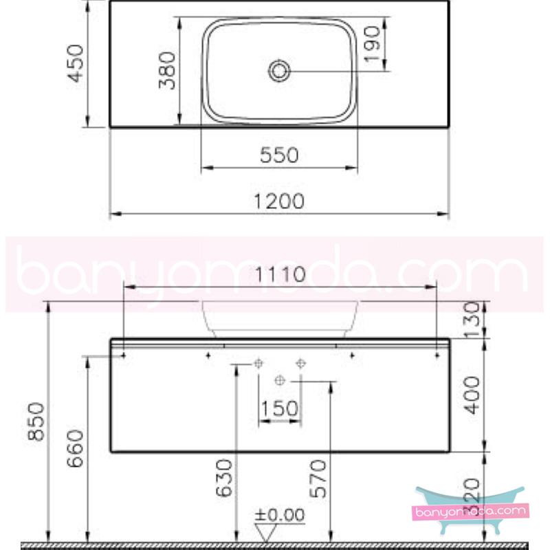Vitra Shift Geniş Lavabo Dolabı (Derin), 120 cm, Zebrano - 52598 asma termoform kaplama kulplu yavaş kapanır çekmeceli büyük banyo alanlarına ekleyeceğiniz ek ünitelerle banyonun fonksiyonelliği arttırın en uygun fiyatlarla Banyomoda'dan online satın alabilirsiniz.
