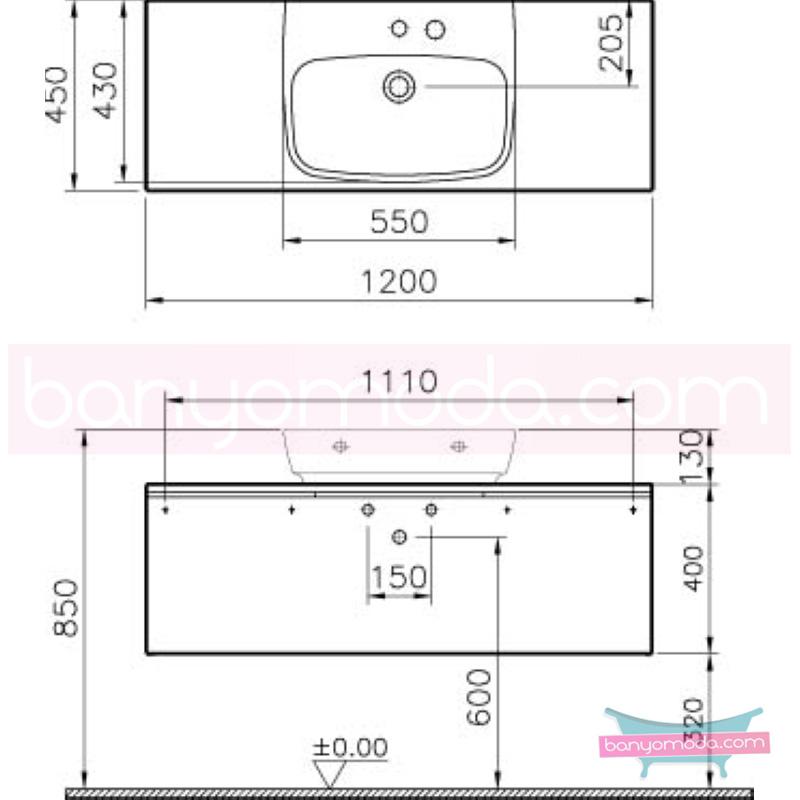 Vitra Shift Geniş Lavabo Dolabı (Derin), 120 cm, Dağ Dokusu - 52568 asma termoform kaplama kulplu yavaş kapanır çekmeceli büyük banyo alanlarına ekleyeceğiniz ek ünitelerle banyonun fonksiyonelliği arttırın en uygun fiyatlarla Banyomoda'dan online satın alabilirsiniz.