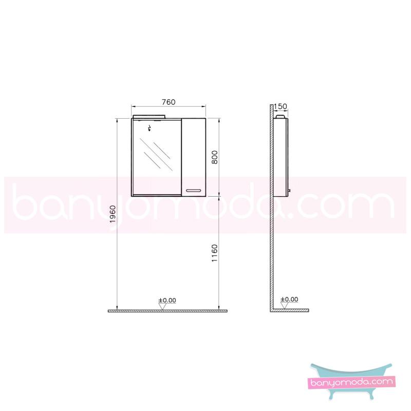 Vitra Sono Dolaplı Ayna, 80 cm Parlak Beyaz (Sağ) - 55031 asma termoform kaplama kulplu yavaş kapanır en uygun fiyatlarla Banyomoda'dan online satın alabilirsiniz.