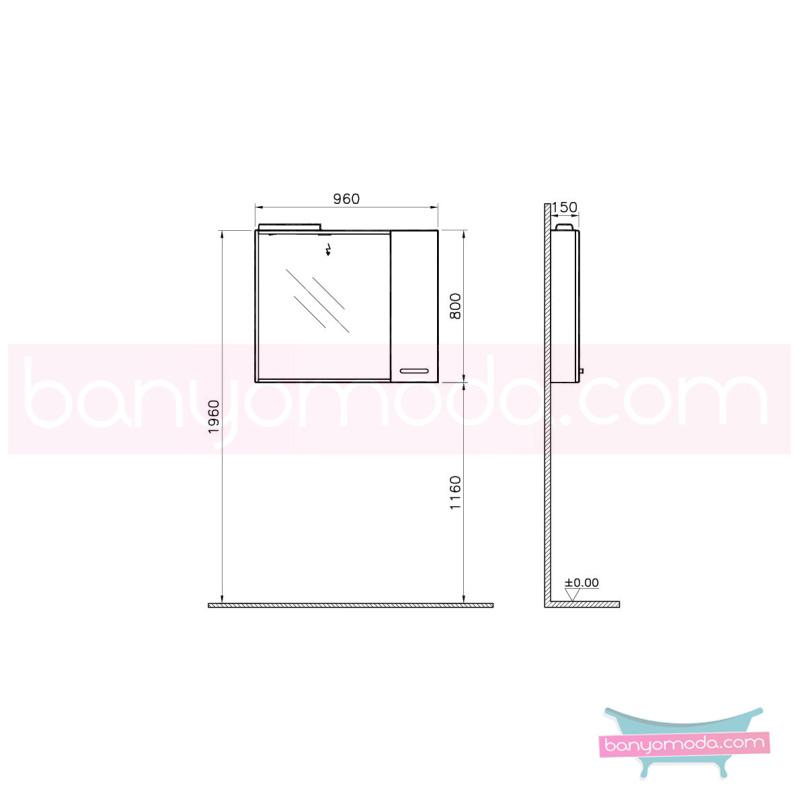 Vitra Sono Dolaplı Ayna, 100 cm Yatay Meşe (Sol) - 55020 asma termoform kaplama kulplu yavaş kapanır en uygun fiyatlarla Banyomoda'dan online satın alabilirsiniz.