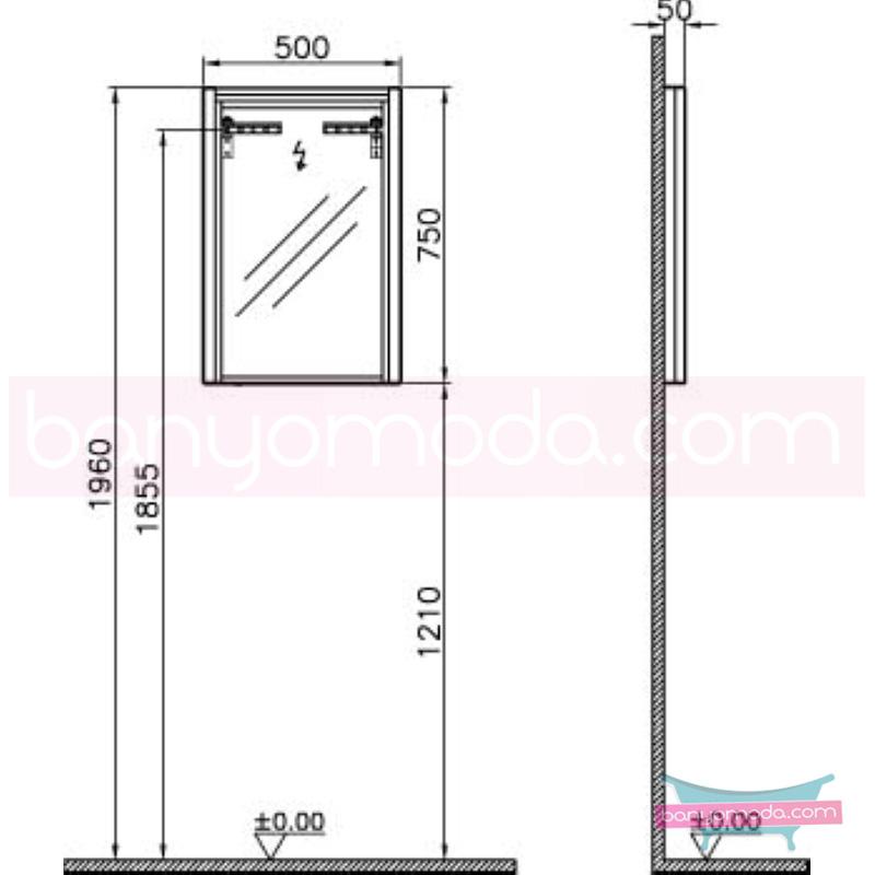 Vitra T4 Aydınlatmalı Ayna, 50 cm, Hasiente Kahve - 54627 asma termoform kaplama sade ve ince görüntsünüyle banyonuza değer katan Noa tasarımlı mobilya en uygun fiyatlarla Banyomoda'dan online satın alabilirsiniz.